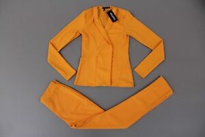 Boohoo-Women-039-s-Ella-Crepe-Fitted-Suit-SV3-Mustard-Size-US-4-NWT