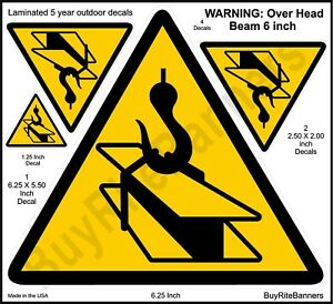 6 Inch Overhead Beam, Crane Safety Warning Decals Stickers. 4 count 3 Sizes.