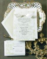 12 Elegant Wedding Invitations Kit Green Floral Set Formal Reply Cards