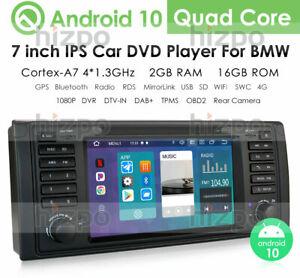 "Android 10 Autoradio DVD 1 DIN GPS 7"" USB NAVI RDS DAB+ BT SWC für BMW E39 5er"