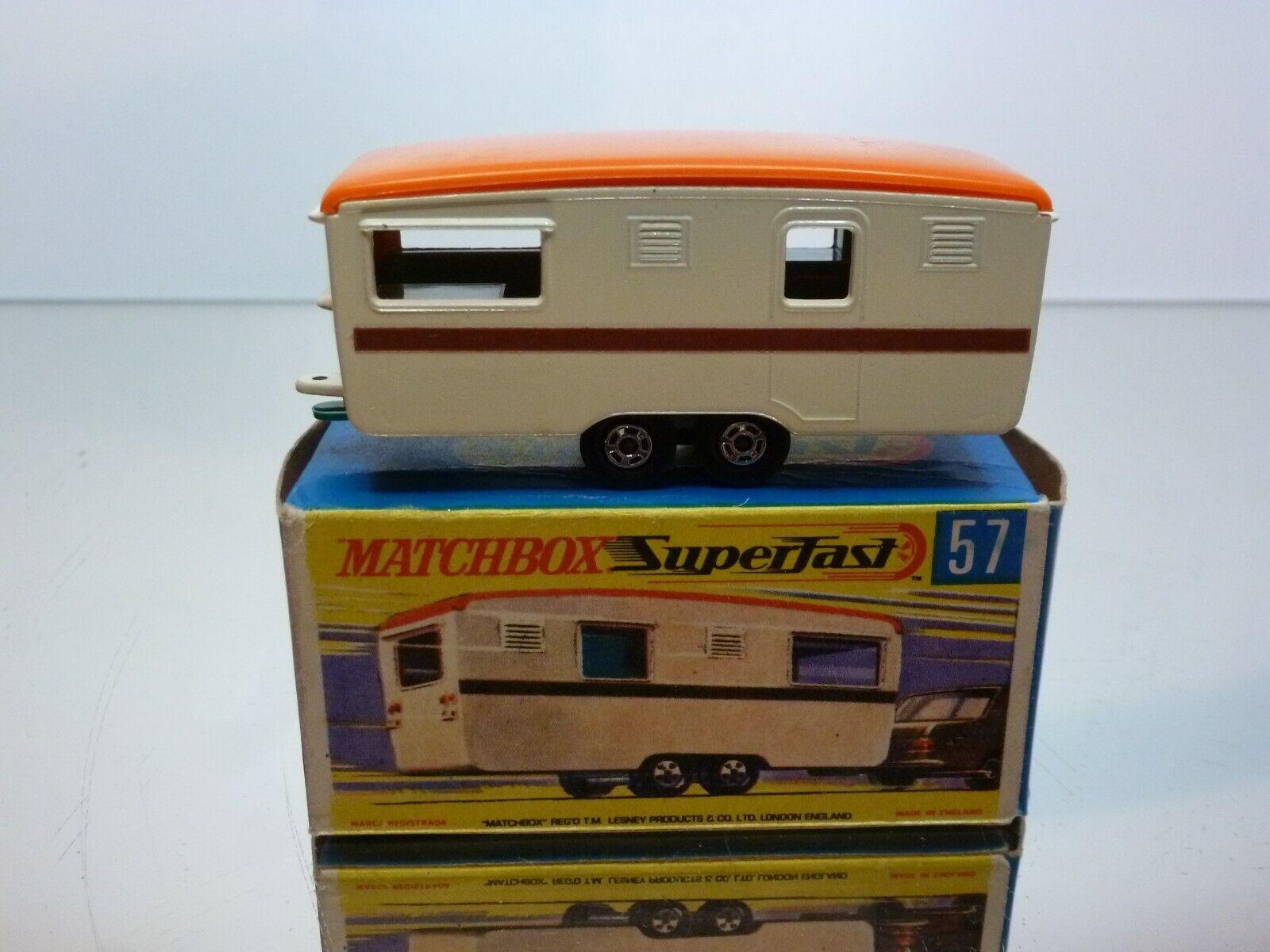 MATCHBOX SUPERFAST 57 TRAILER CARAVAN - CREAM + orange - EXCELLENT IN BOX
