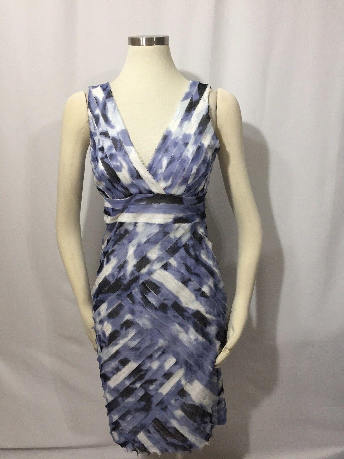 Ann Taylor bluee White Watercolor Raw Edge Diagonal Shutter Pleat Sheath Dress 2
