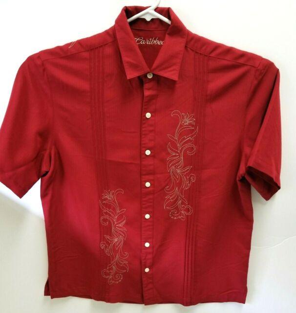 Caribbean Mens Sz L Short Sleeve Casual Hawaiian Shirt