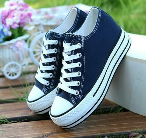 Womens ladies hidden Platform Wedge Canvas Lace Up Slip On Casual Sneaker Shoes