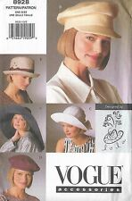 V8928 Vogue 8928 OOP Sewing Pattern 5 Hats in 3 Sizes UNUSED Patron Couture