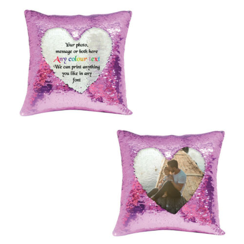 Personalised pink sequin cushion cover with any photo su426 gift message