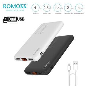 ROMOSS Portable Charger Power Bank Dual USB External Battery 10000mAh for Phone