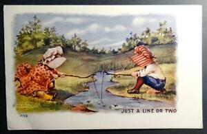 Postcard-H-H-Tammen-Just-a-Line-of-Two-Sunbonnet-Girls-Fishing-1908-UDB