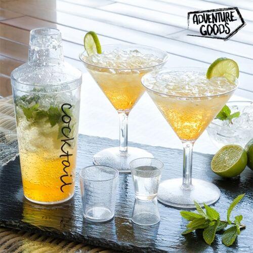 COCKTAIL Set Cocktail verres shaker Plastique Verres avec Shakers