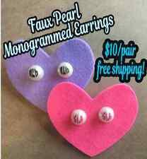 Monogram Pearl Earrings, Custom Personalized Jewelry, Monogrammed Initials