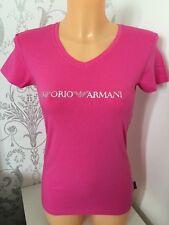 BNWT Women's EMPORIO ARMANI Raspberry/Pink Graphic Diamanté Logo Tee. Size: XS