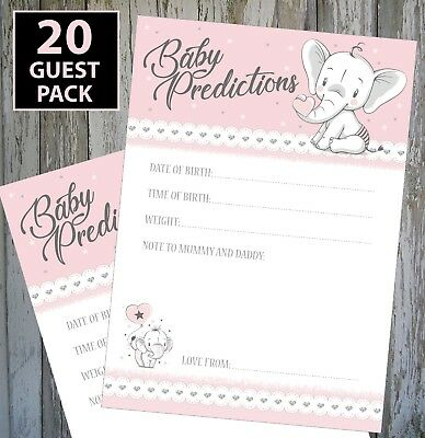 BABY GIRL SHOWER GAME BABY PINK PREDICTION CARDS KEEPSAKE! 20 GUEST PACK!!