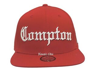 Image is loading TopCul-Red-Compton-Embroidered-Flat-Bill-Snapback-Baseball- 80e2f277bbed