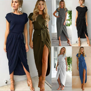 Womens-Ladies-Belted-Split-Maxi-Summer-Casual-Beach-Party-Long-Skirts-Dress-AU