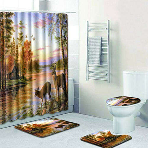 4 Piece Bathroom Set,Animal Deers Vintage Forest Waterproof Shower Curtain