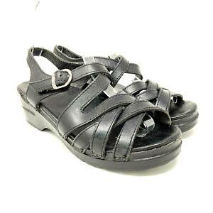 dansko womens shoe size 8 black leather sandals