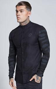 12b6e95128 Sik Silk Mens New Long Sleeved Collarless Shirt Contrast Sleeves ...