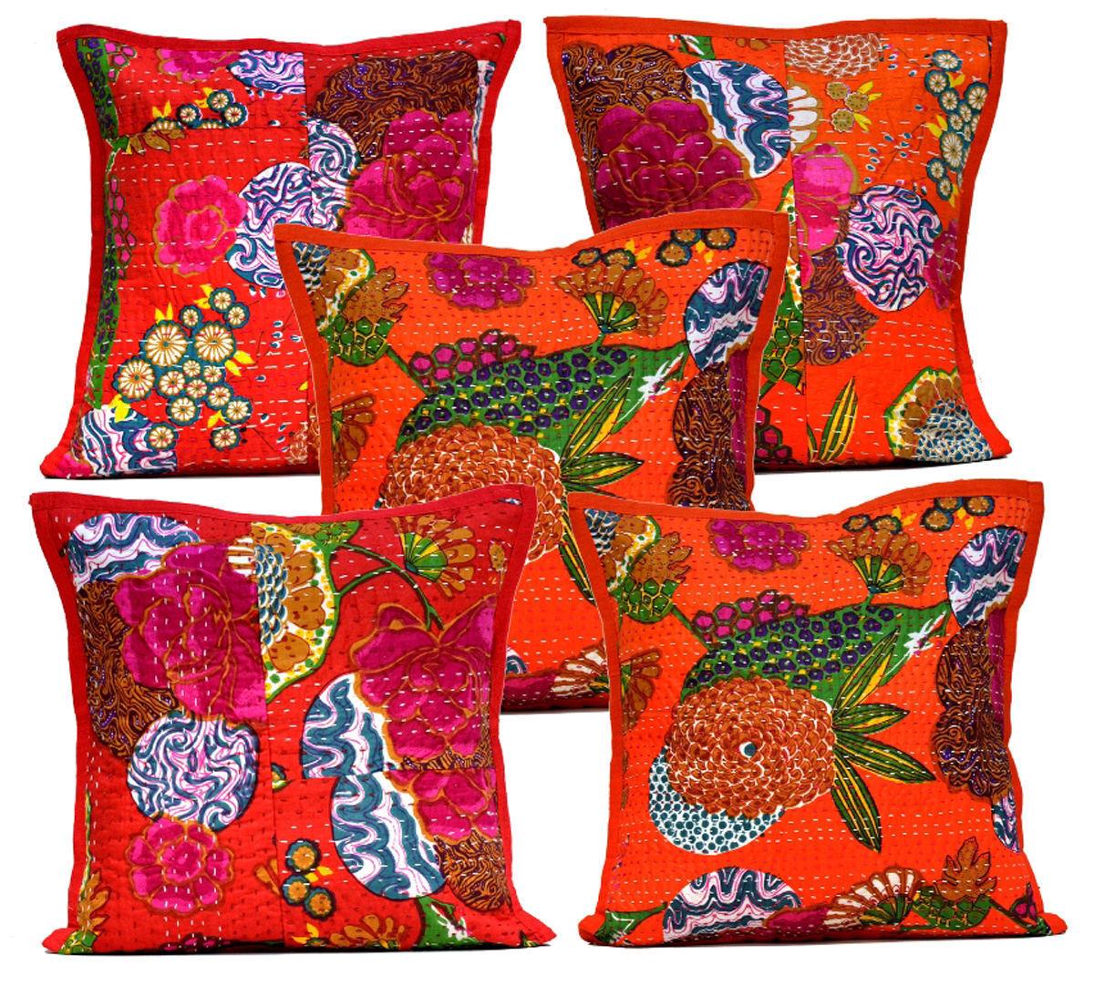 10Pcs Home Decorative Kantha Stitch Floral orange Pillow Cushion Covers AIC803