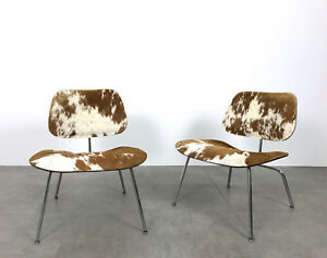 Image Is Loading Vintage Pair Eames LCM Cowhide Lounge Chairs Herman