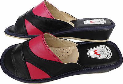 Pantolette Hausschuhe Gr.38 LEDER Dunkel Blau-Pink (Made in Poland 6-02-4-00)