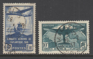 France-Sc-C16-C17-used-1936-100th-Transatlantic-Air-Mail-cplt-set-VF
