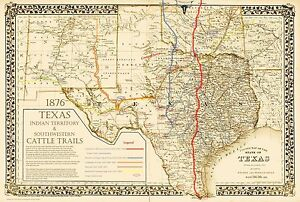 Great Texas Chisholm Goodnight Western Cattle Trails Map In - Chisholm trail map