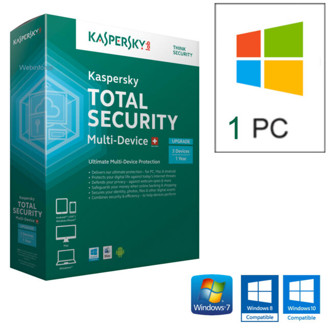 KASPERSKY TOTAL SECURITY 2018  1PC LICENZA 1 ANNO /  100% ORIGINALE