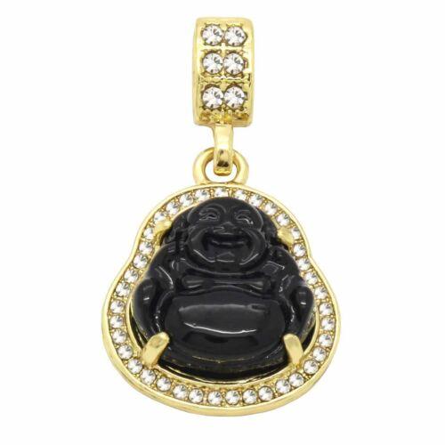 "Men/'s 14k Gold Plated Black Resin Buddha Pendant 3mm 24/"" Cuban Link Chain"