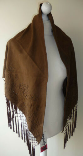 Brown Triangle Shawl Broderie Anglaise Embroidered Scarf Tassels Evening