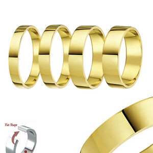 9ct-Yellow-Gold-Ring-Heavy-Flat-Shaped-Wedding-Ring-Band