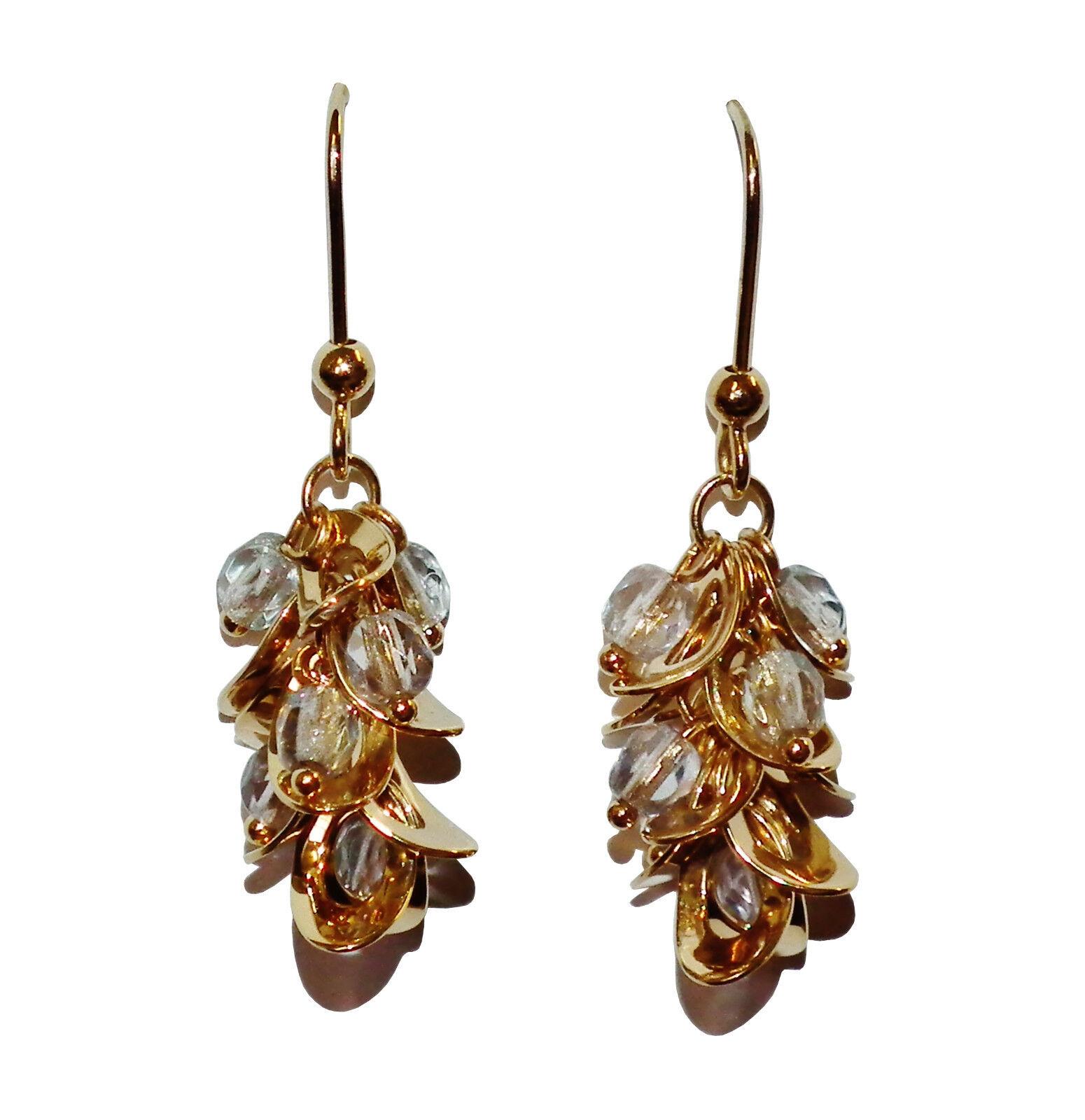 Fully Hallmarked 9ct Yellow gold & Bead Fancy Drop Earrings