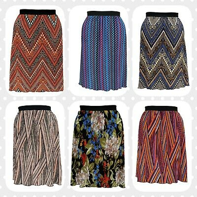 Wolfairy Womens Plus Size Skirt Pleated Midi Tribal Aztec Summer Elasticated BüGeln Nicht
