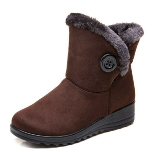 Winter Women Fur-lined Warm Snow Boots Slip On Low Heel Casual Ankle Shoes NEW