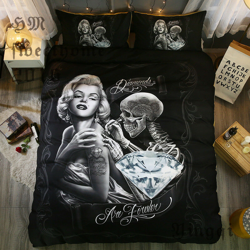 Marilyn Monroe Skull Black Bedding Comforter Set Pillow Case Duvet Cover Queen For Sale Online Ebay