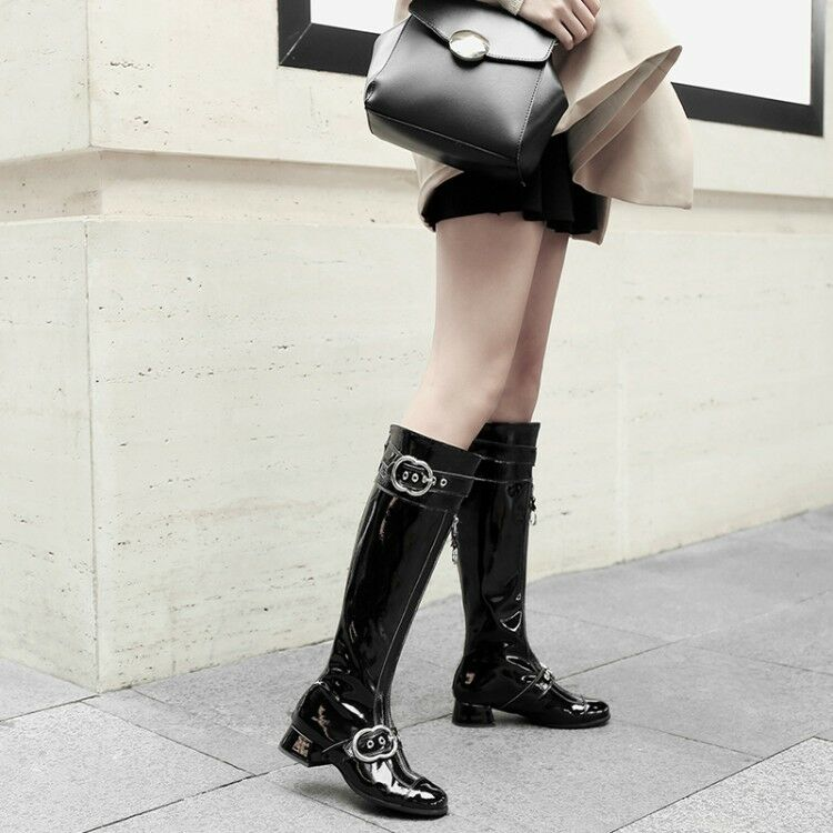 Women Shiny Shiny Women Leather Buckle Knee High Riding Boots Low Heel Boots Motorcycle Shoe 56d737