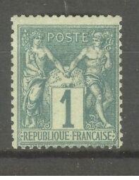 FRANCE-STAMP-TIMBRE-N-61-034-TYPE-SAGE-1c-VERT-034-NEUF-xx-TB