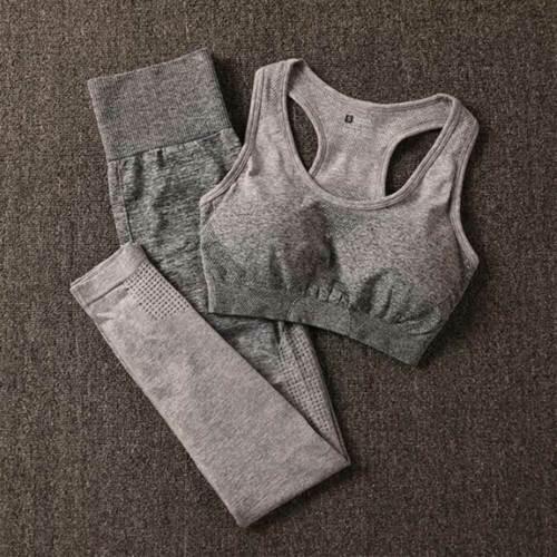 Para Mujeres Pantalones de Yoga Set Gimnasio Ombre sin costuras Leggings Push Up Sujetador Traje de Entrenamiento Deporte