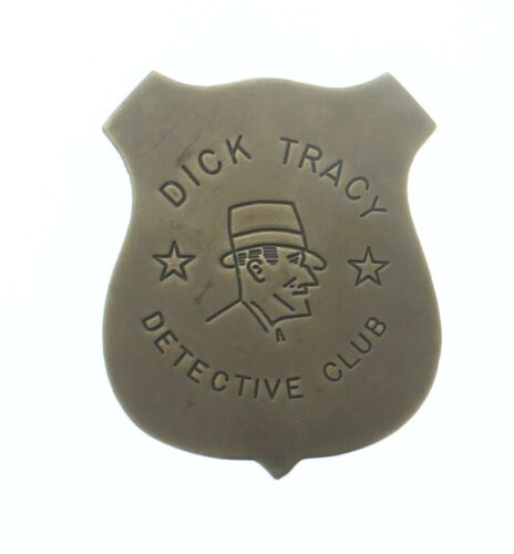 Dick Tracy Detective Club Brass Badge Antique Patina