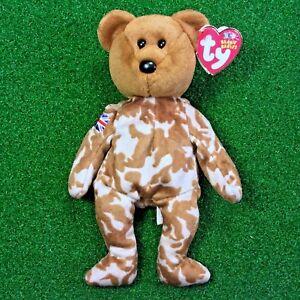 TY HERO the UK BEAR BEANIE BABY FLAG ON ARM