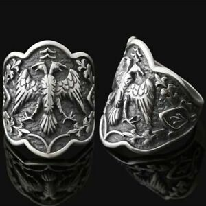 Bague-Chevaliere-Homme-Argent-massif-925-Motif-Animal-Aigle-2-Tetes-14g-Sterling