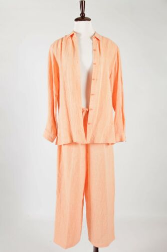 EILEEN FISHER – Orange Stretch Crinkled Linen 2pc