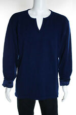 Cashmeres Mens Teal Blue Cashmere Long Sleeve V-Neck Sweater Size Medium