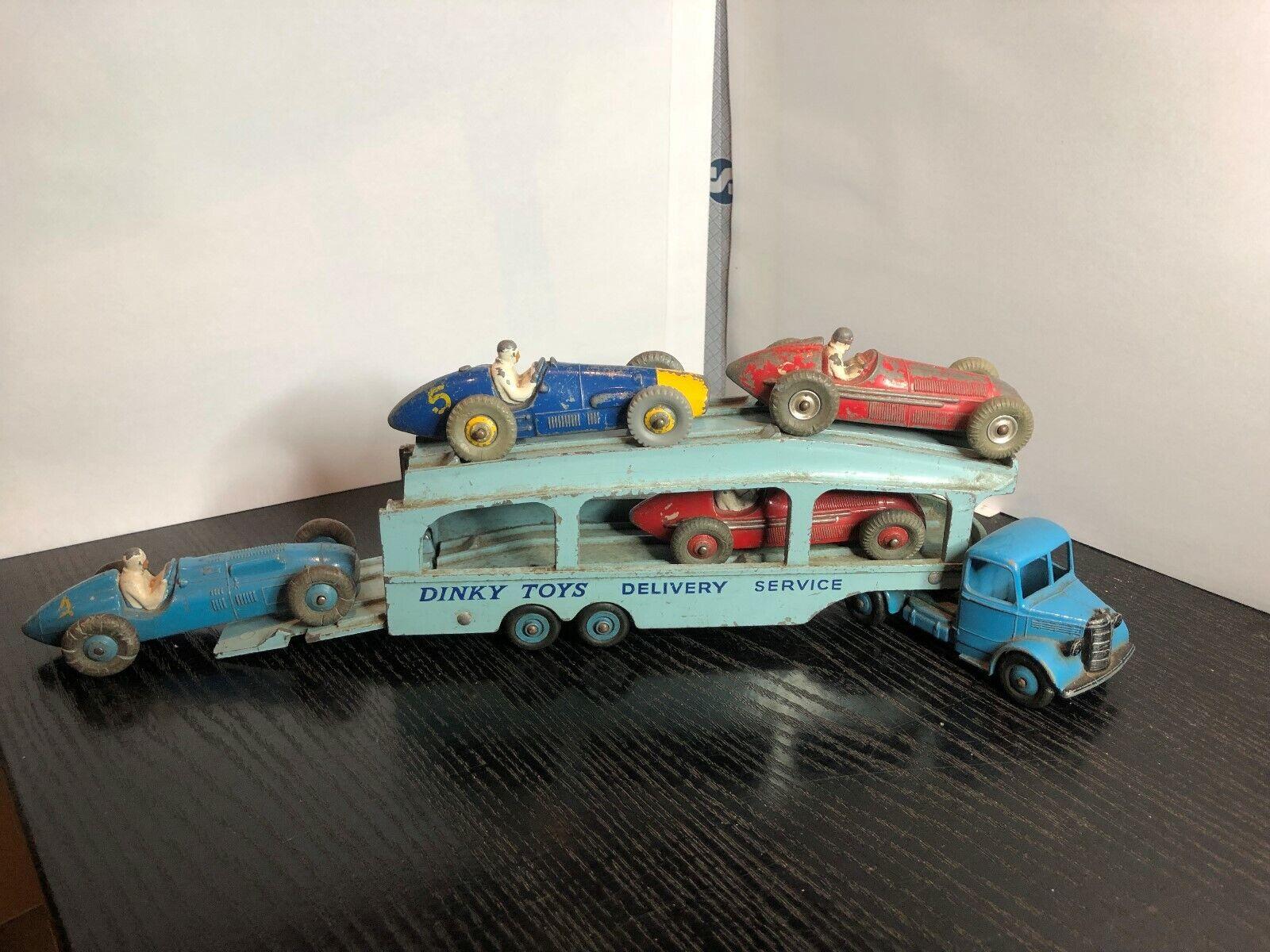 4 ursprünglichen dinky spielzeug 23 serie rennwagen & bedford pullman - wagen transporter