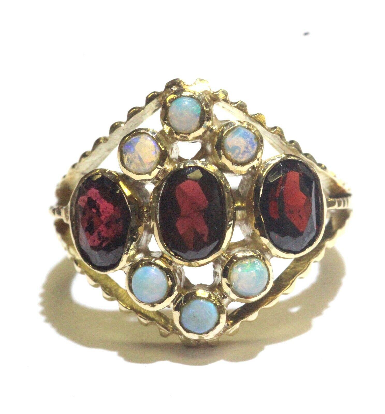 14k yellow gold garnet opal gemstone womens ring 3.7g estate vintage