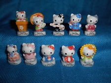Bonjour HELLO KITTY Set 10 Mini Figurine French Porcelain FEVES SANRIO Figures