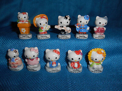 HELLO KITTY SPORTS Set 9 Mini Figurine French Porcelain FEVES SANRIO Figures /'13