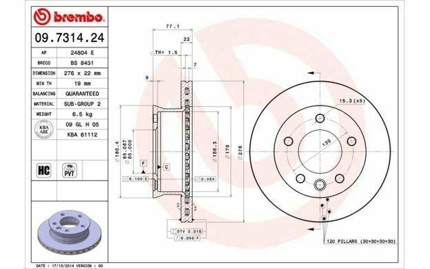 2x BREMBO Disques de Frein Avant Ventilé 276mm pour VOLKSWAGEN LT 09.7314.24