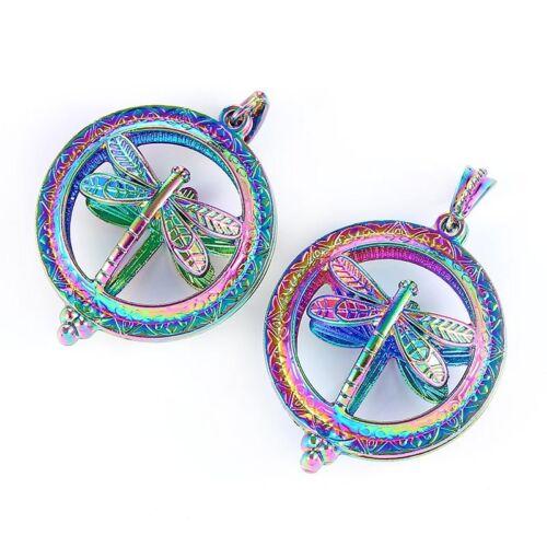 2X Perles Cage Pendentif Médaillon Collier libellule pour Bijoux Making Cadeau