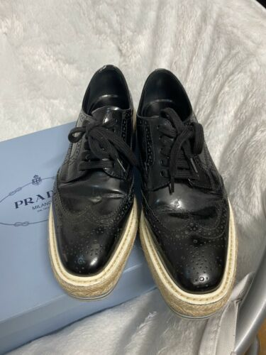 AUTH PRADA Leather Brogue Platform Oxfords Black … - image 1
