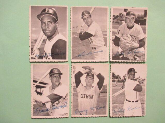 6---1969  Topps  Deckle Edge Cards (ROBERTO CLEMENTE/LUIS APARICIO/FRANK HOWARD)